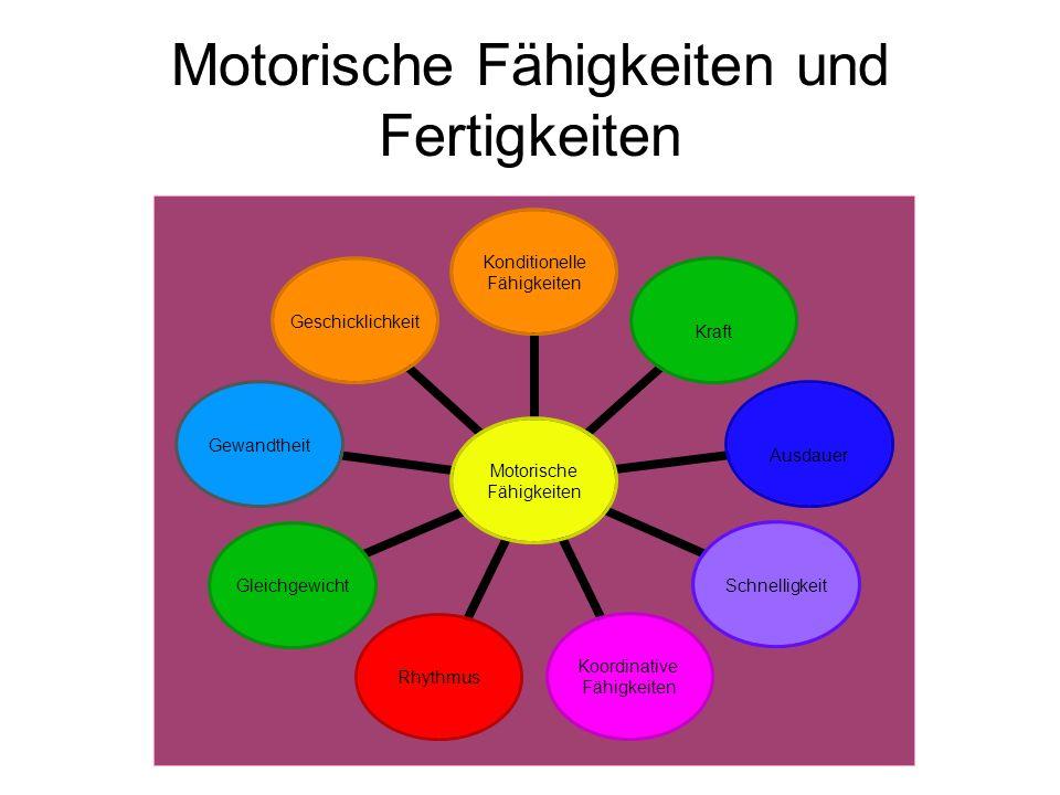 Motorische Fähigkeiten Motorische Fähigkeiten sind Bewegungseigenschaften Körperbau und physiologischen Merkmalen nicht sichtbare Grundlagen der Bewegung Einteilung: koordinative und konditionelle Förderung: mit genügend Anreizen