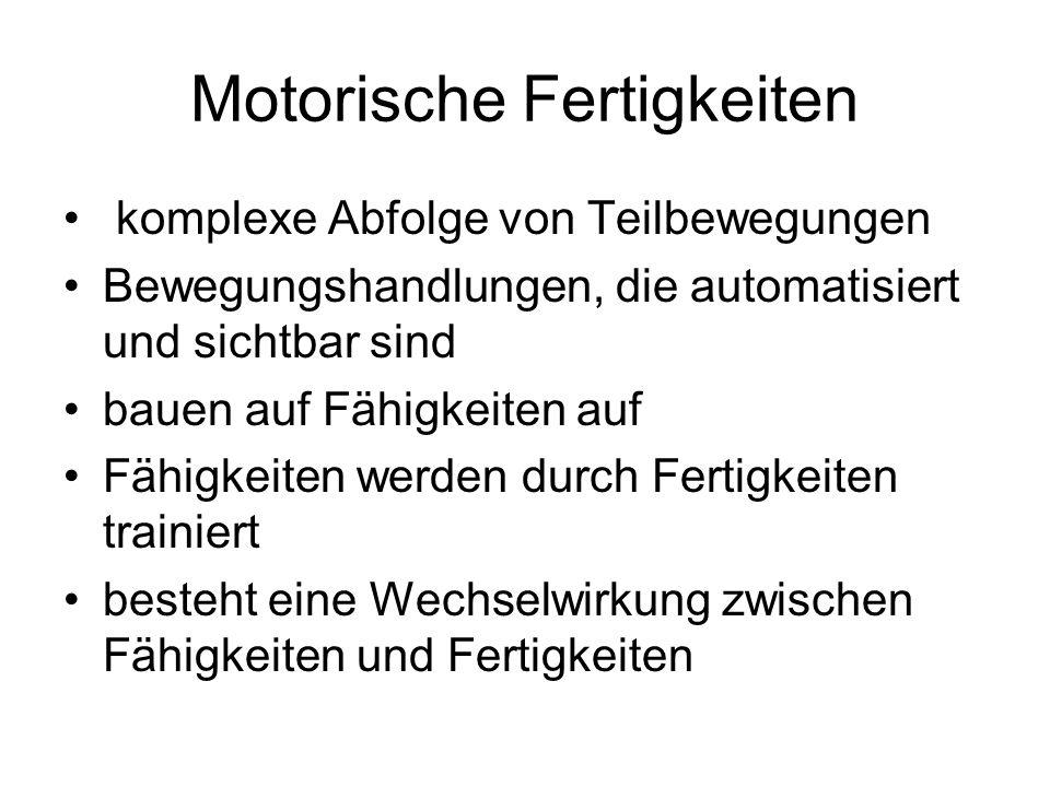 Motorische Fähigkeiten und Fertigkeiten Motorische Fähigkeiten und Fertigkeiten Konditionelle Fähigkeiten KraftAusdauerSchnelligkeit Koordinative Fähigkeiten Rhythmus Gleichgewicht Geschicklichkeit Gewandtheit