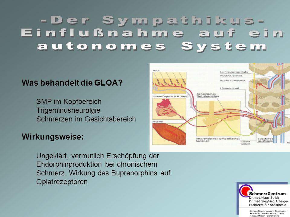 Was behandelt die GLOA? SMP im Kopfbereich Trigeminusneuralgie Schmerzen im Gesichtsbereich Wirkungsweise: Ungeklärt, vermutlich Erschöpfung der Endor