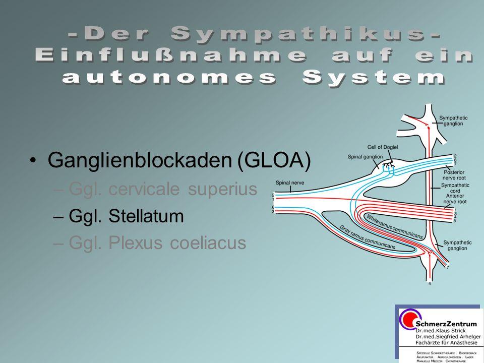 Ganglienblockaden (GLOA) –Ggl. cervicale superius –Ggl. Stellatum –Ggl. Plexus coeliacus