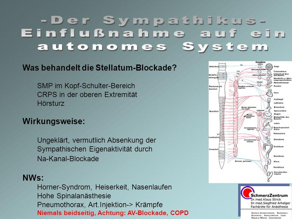 Was behandelt die Stellatum-Blockade? SMP im Kopf-Schulter-Bereich CRPS in der oberen Extremität Hörsturz Wirkungsweise: Ungeklärt, vermutlich Absenku