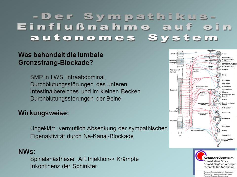 Was behandelt die lumbale Grenzstrang-Blockade? SMP in LWS, intraabdominal, Durchblutungsstörungen des unteren Intestinalbereiches und im kleinen Beck