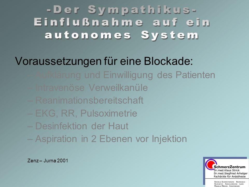 Voraussetzungen für eine Blockade: –Aufklärung und Einwilligung des Patienten –Intravenöse Verweilkanüle –Reanimationsbereitschaft –EKG, RR, Pulsoximetrie –Desinfektion der Haut –Aspiration in 2 Ebenen vor Injektion Zenz – Jurna 2001