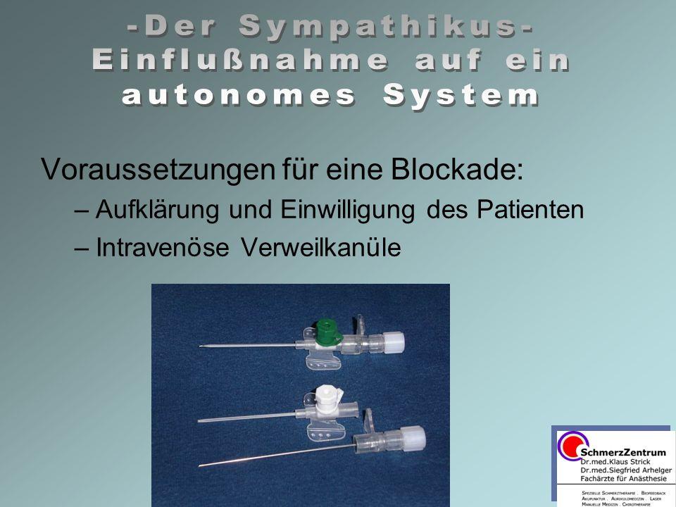 Voraussetzungen für eine Blockade: –Aufklärung und Einwilligung des Patienten –Intravenöse Verweilkanüle
