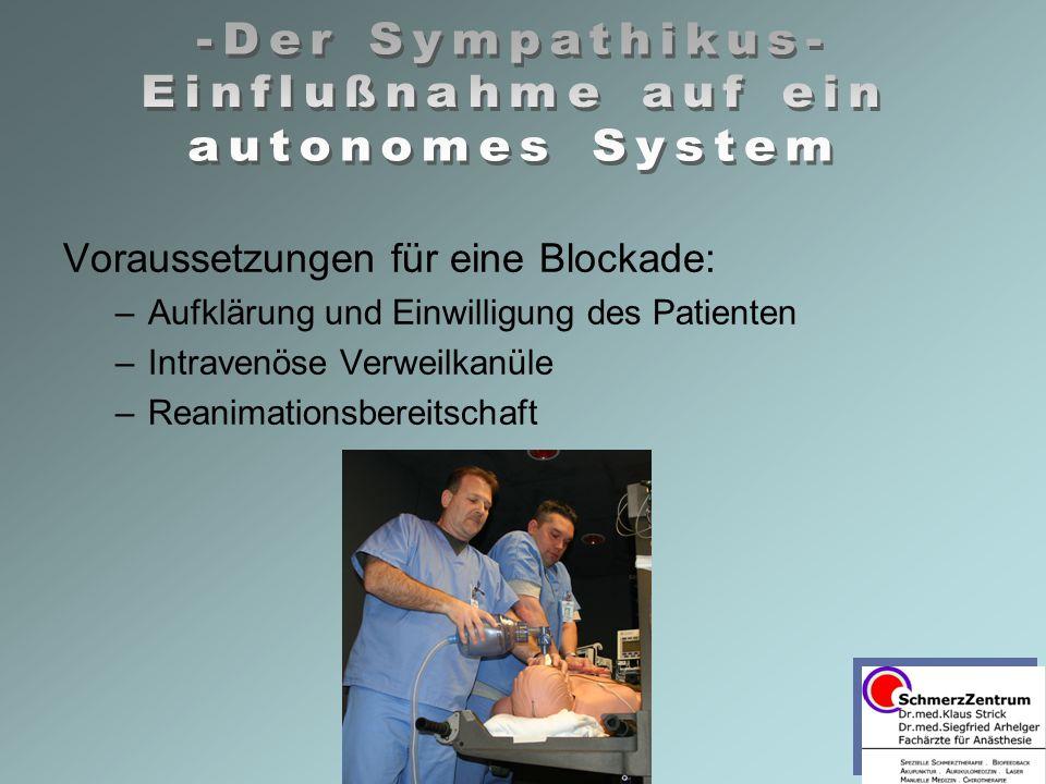 Voraussetzungen für eine Blockade: –Aufklärung und Einwilligung des Patienten –Intravenöse Verweilkanüle –Reanimationsbereitschaft