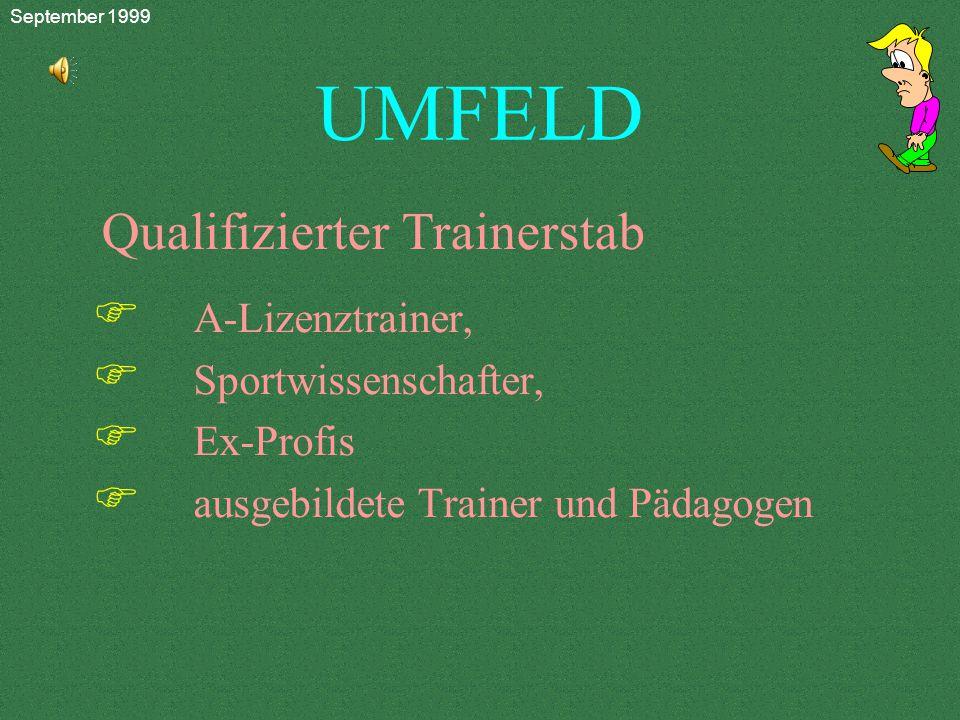 UMFELD F A-Lizenztrainer, F Sportwissenschafter, F Ex-Profis F ausgebildete Trainer und Pädagogen Qualifizierter Trainerstab September 1999