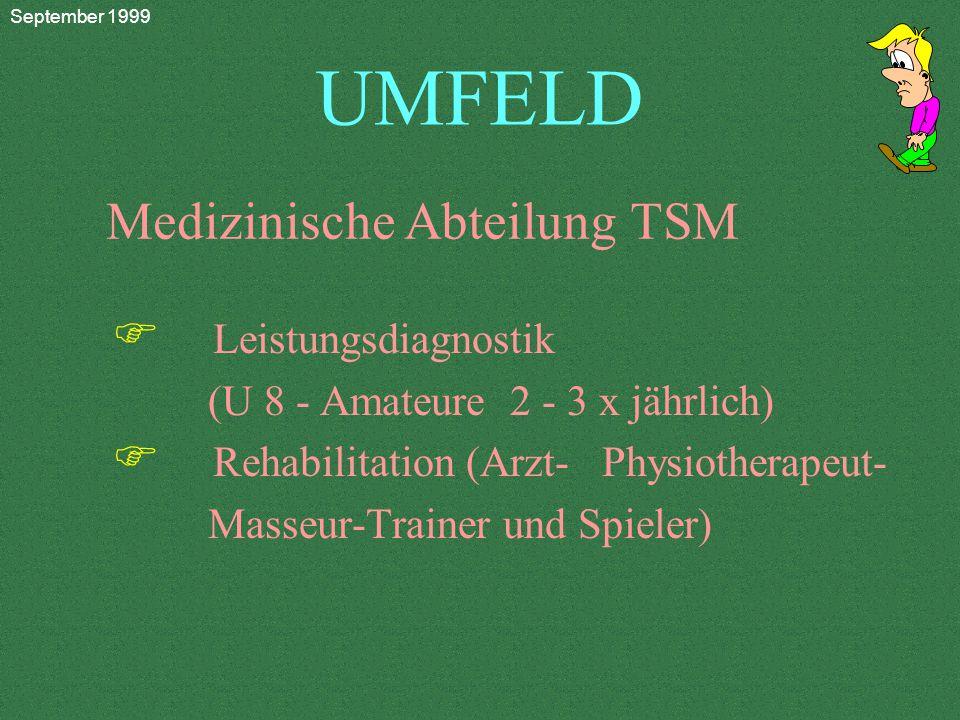 UMFELD F Leistungsdiagnostik (U 8 - Amateure 2 - 3 x jährlich) F Rehabilitation (Arzt- Physiotherapeut- Masseur-Trainer und Spieler) Medizinische Abteilung TSM September 1999