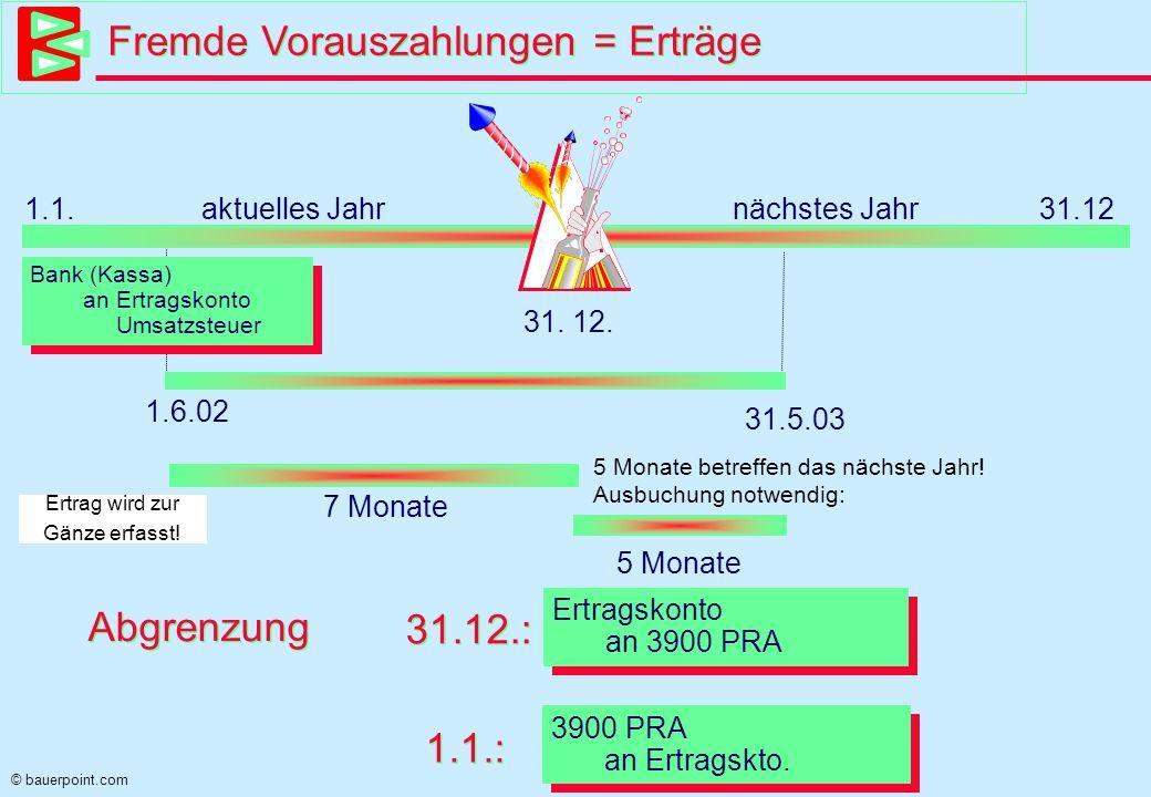 © bauerpoint.com Fremde Vorauszahlungen = Erträge 1.1.aktuelles Jahrnächstes Jahr 31.12 31.