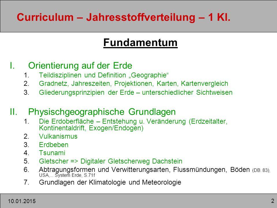 """2 10.01.2015 Curriculum – Jahresstoffverteilung – 1 Kl. Fundamentum I.Orientierung auf der Erde 1.Teildisziplinen und Definition """"Geographie"""" 2.Gradne"""