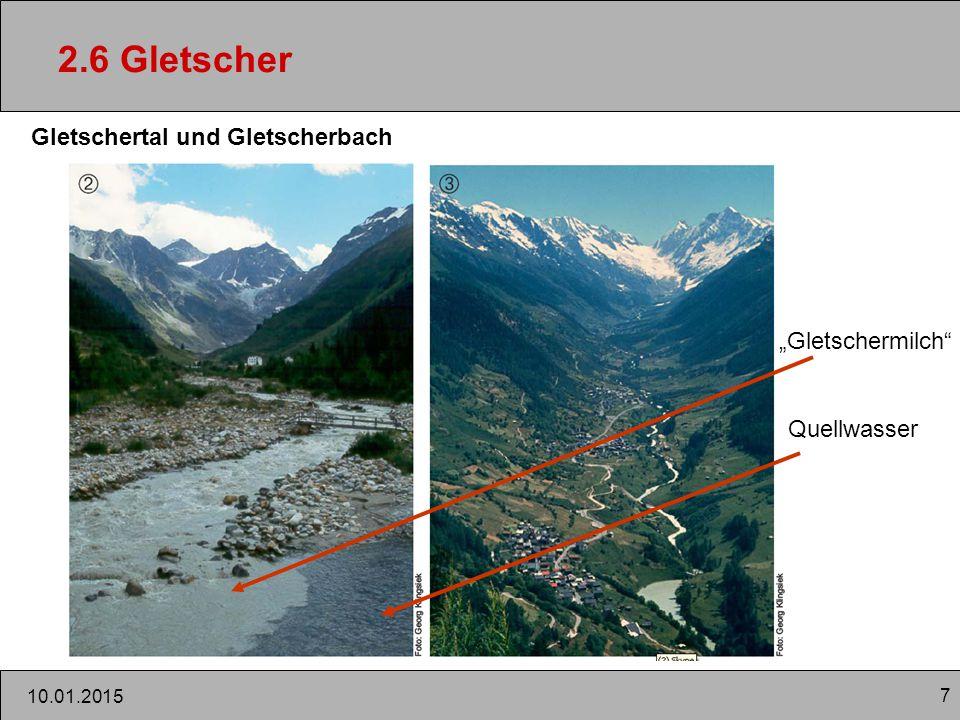 """7 10.01.2015 2.6 Gletscher Gletschertal und Gletscherbach """"Gletschermilch"""" Quellwasser"""