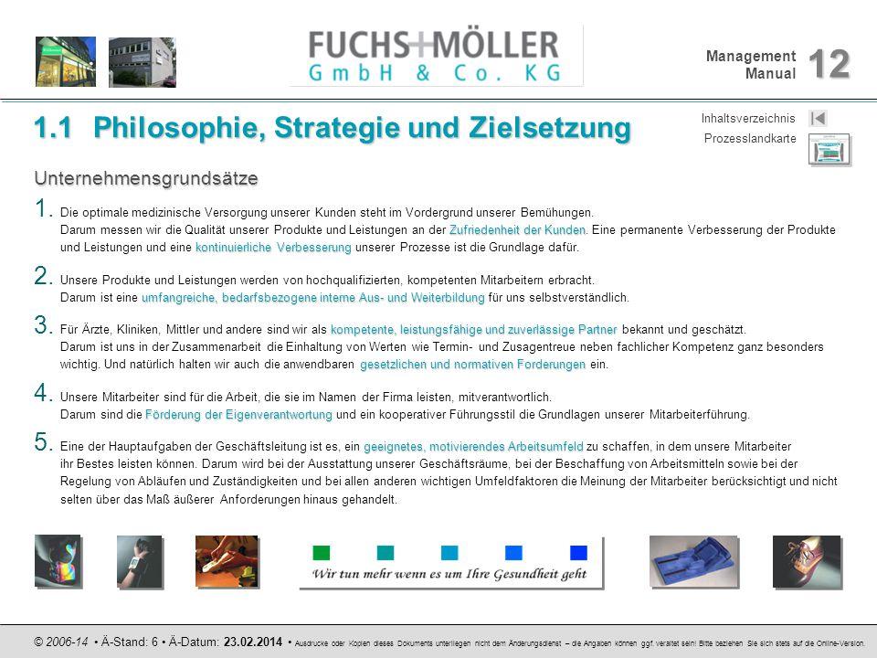 Management Manual 12 © 2006-14 Ä-Stand: 6 Ä-Datum: 23.02.2014 Ausdrucke oder Kopien dieses Dokuments unterliegen nicht dem Änderungsdienst – die Angab