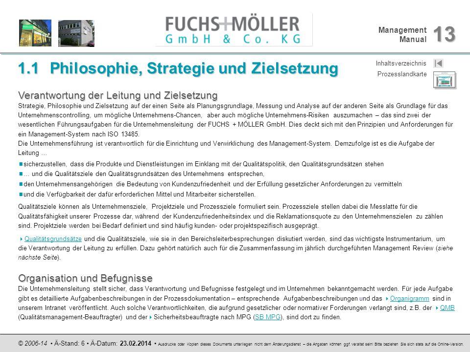 Management Manual 13 © 2006-14 Ä-Stand: 6 Ä-Datum: 23.02.2014 Ausdrucke oder Kopien dieses Dokuments unterliegen nicht dem Änderungsdienst – die Angab