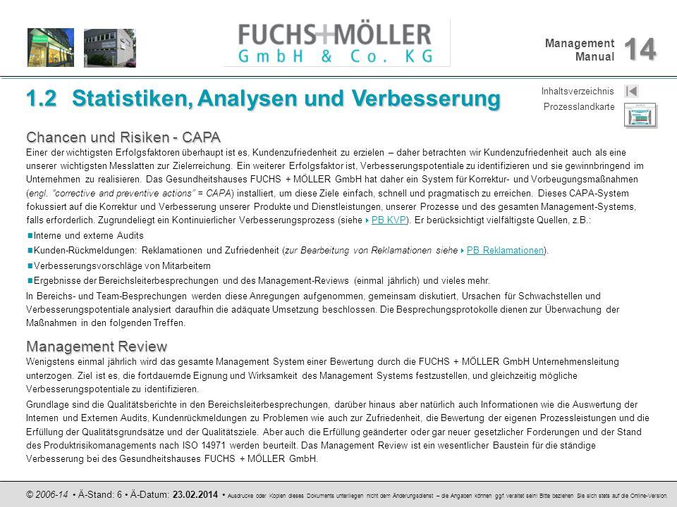 Management Manual 14 © 2006-14 Ä-Stand: 6 Ä-Datum: 23.02.2014 Ausdrucke oder Kopien dieses Dokuments unterliegen nicht dem Änderungsdienst – die Angab