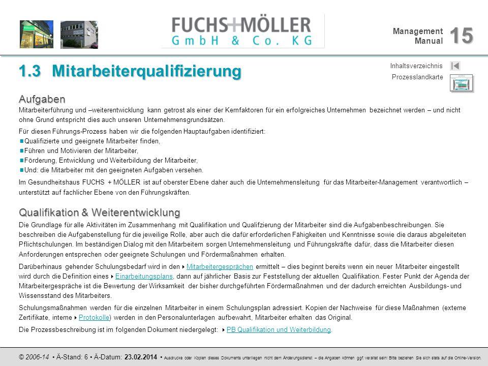 Management Manual 15 © 2006-14 Ä-Stand: 6 Ä-Datum: 23.02.2014 Ausdrucke oder Kopien dieses Dokuments unterliegen nicht dem Änderungsdienst – die Angab