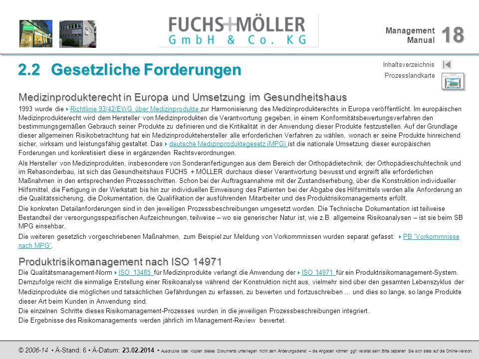 Management Manual 18 © 2006-14 Ä-Stand: 6 Ä-Datum: 23.02.2014 Ausdrucke oder Kopien dieses Dokuments unterliegen nicht dem Änderungsdienst – die Angab