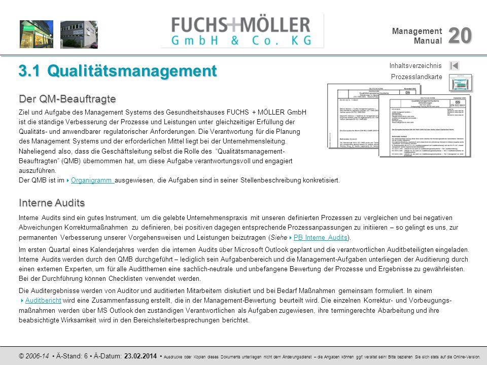 Management Manual 20 © 2006-14 Ä-Stand: 6 Ä-Datum: 23.02.2014 Ausdrucke oder Kopien dieses Dokuments unterliegen nicht dem Änderungsdienst – die Angab