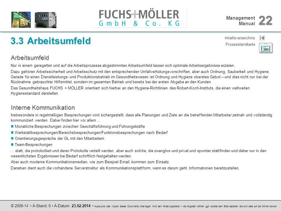 Management Manual 22 © 2006-14 Ä-Stand: 6 Ä-Datum: 23.02.2014 Ausdrucke oder Kopien dieses Dokuments unterliegen nicht dem Änderungsdienst – die Angab