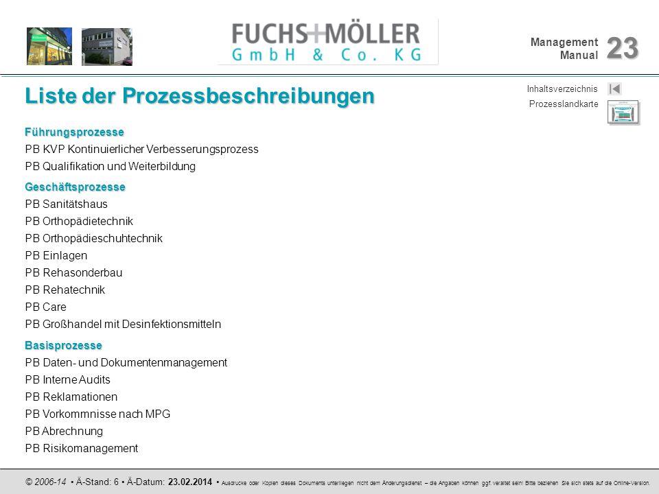 Management Manual 23 © 2006-14 Ä-Stand: 6 Ä-Datum: 23.02.2014 Ausdrucke oder Kopien dieses Dokuments unterliegen nicht dem Änderungsdienst – die Angab