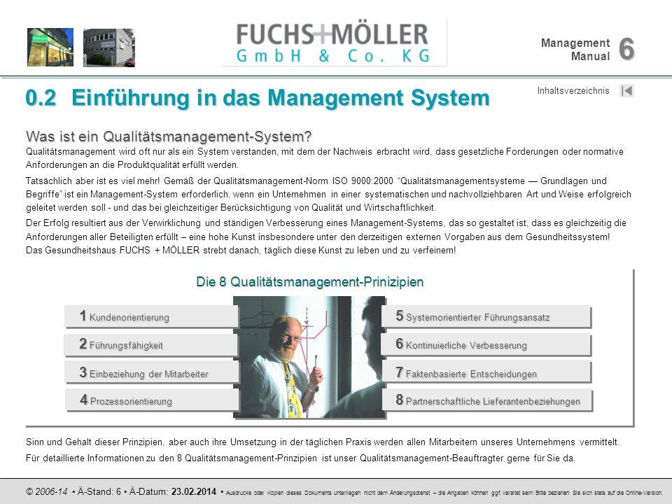 Management Manual 6 © 2006-14 Ä-Stand: 6 Ä-Datum: 23.02.2014 Ausdrucke oder Kopien dieses Dokuments unterliegen nicht dem Änderungsdienst – die Angabe