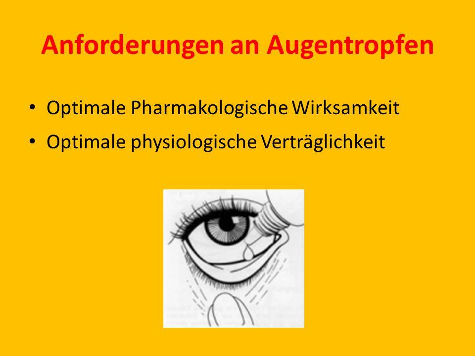Anforderungen an Augentropfen Optimale Pharmakologische Wirksamkeit Optimale physiologische Verträglichkeit