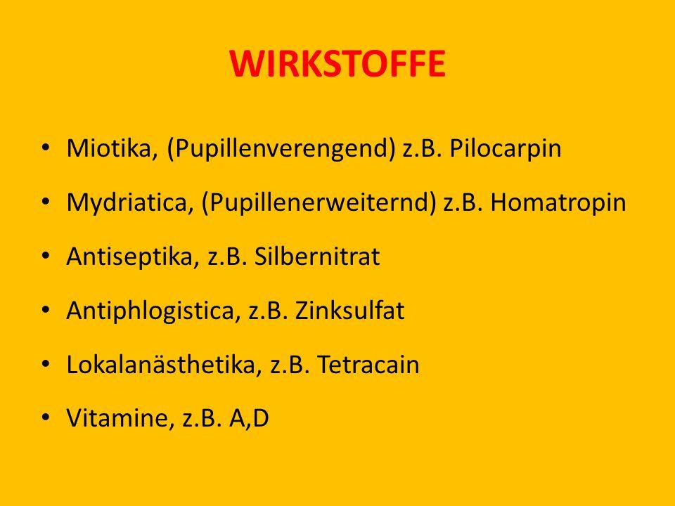 WIRKSTOFFE Miotika, (Pupillenverengend) z.B.Pilocarpin Mydriatica, (Pupillenerweiternd) z.B.
