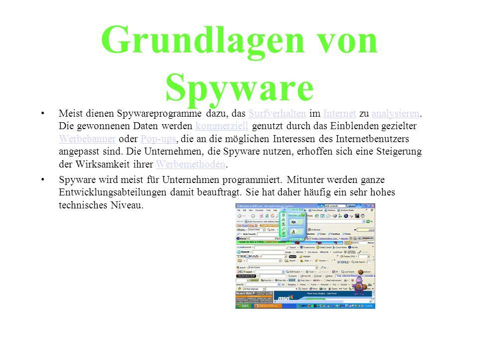 Grundlagen von Spyware Meist dienen Spywareprogramme dazu, das Surfverhalten im Internet zu analysieren. Die gewonnenen Daten werden kommerziell genut