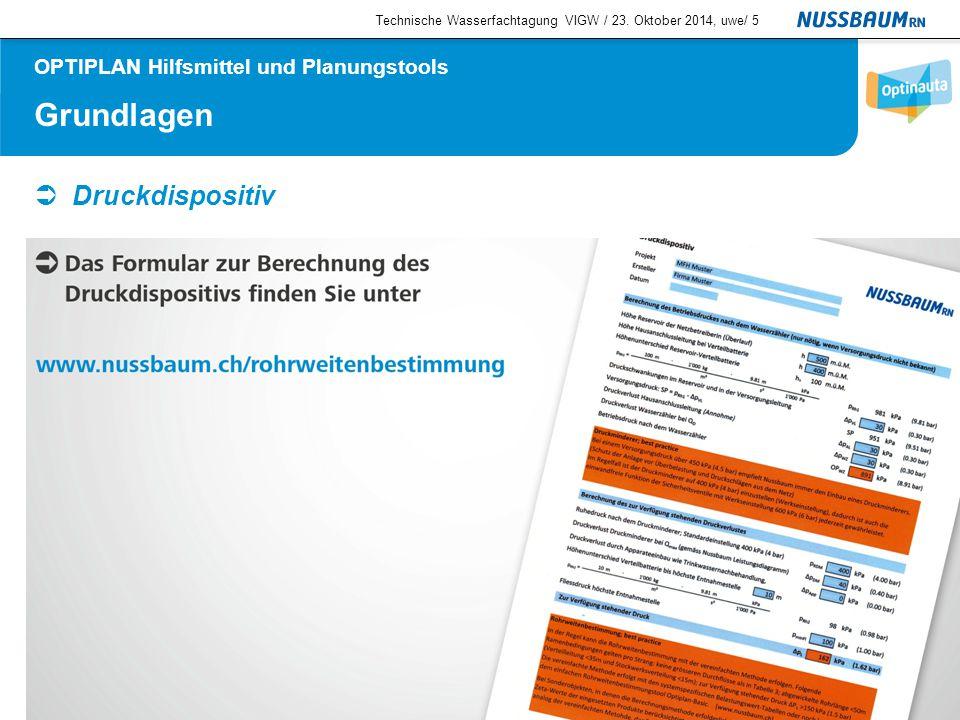 Grundlagen  Druckdispositiv Technische Wasserfachtagung VIGW / 23. Oktober 2014, uwe/5 OPTIPLAN Hilfsmittel und Planungstools