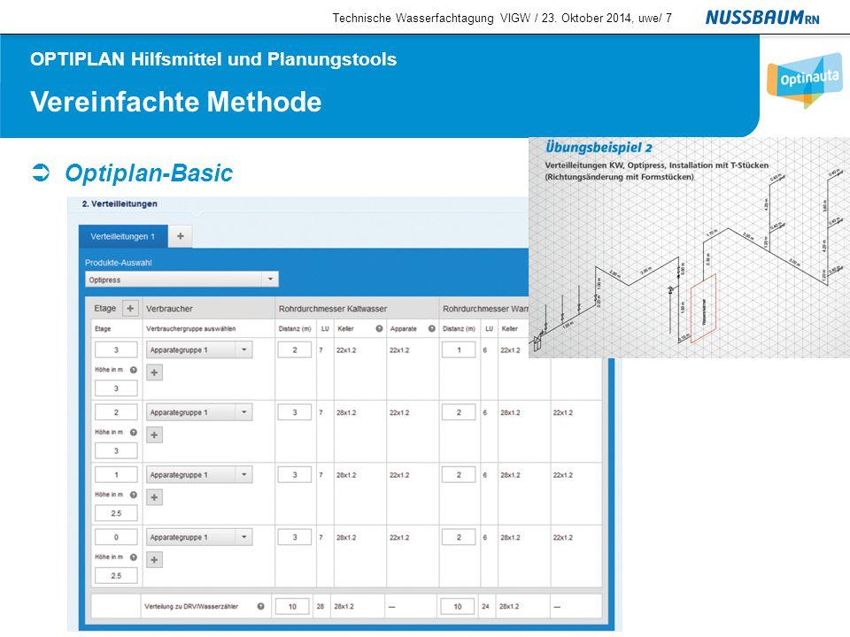 Vereinfachte Methode  Optiplan-Basic Technische Wasserfachtagung VIGW / 23. Oktober 2014, uwe/7 OPTIPLAN Hilfsmittel und Planungstools