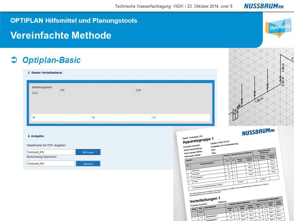 Vereinfachte Methode  Optiplan-Basic Technische Wasserfachtagung VIGW / 23. Oktober 2014, uwe/8 OPTIPLAN Hilfsmittel und Planungstools