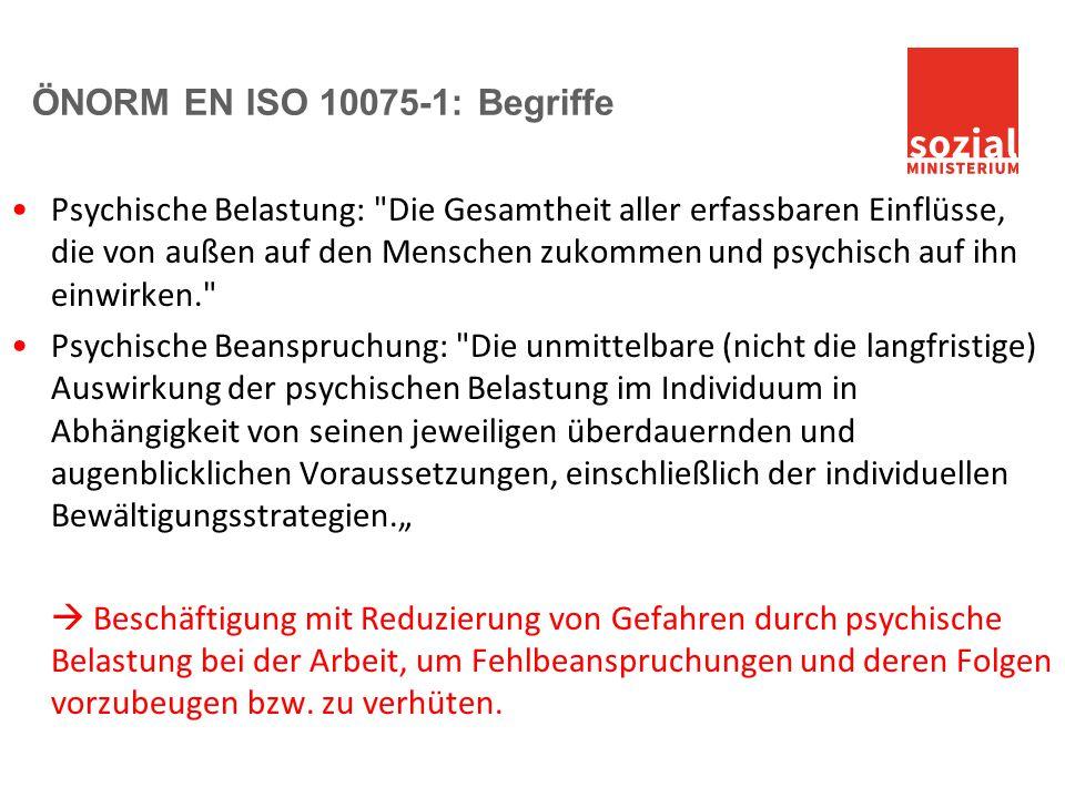 ÖNORM EN ISO 10075-1: Begriffe Psychische Belastung: