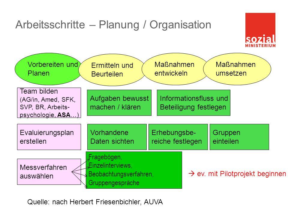 Arbeitsschritte – Planung / Organisation Vorbereiten und Planen Vorhandene Daten sichten Erhebungsbe- reiche festlegen Messverfahren auswählen Team bi