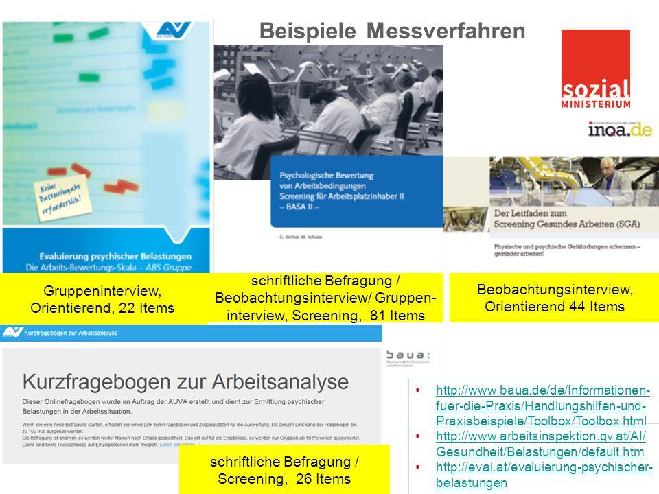 Beispiele Messverfahren Gruppeninterview, Orientierend, 22 Items schriftliche Befragung / Beobachtungsinterview/ Gruppen- interview, Screening, 81 Ite