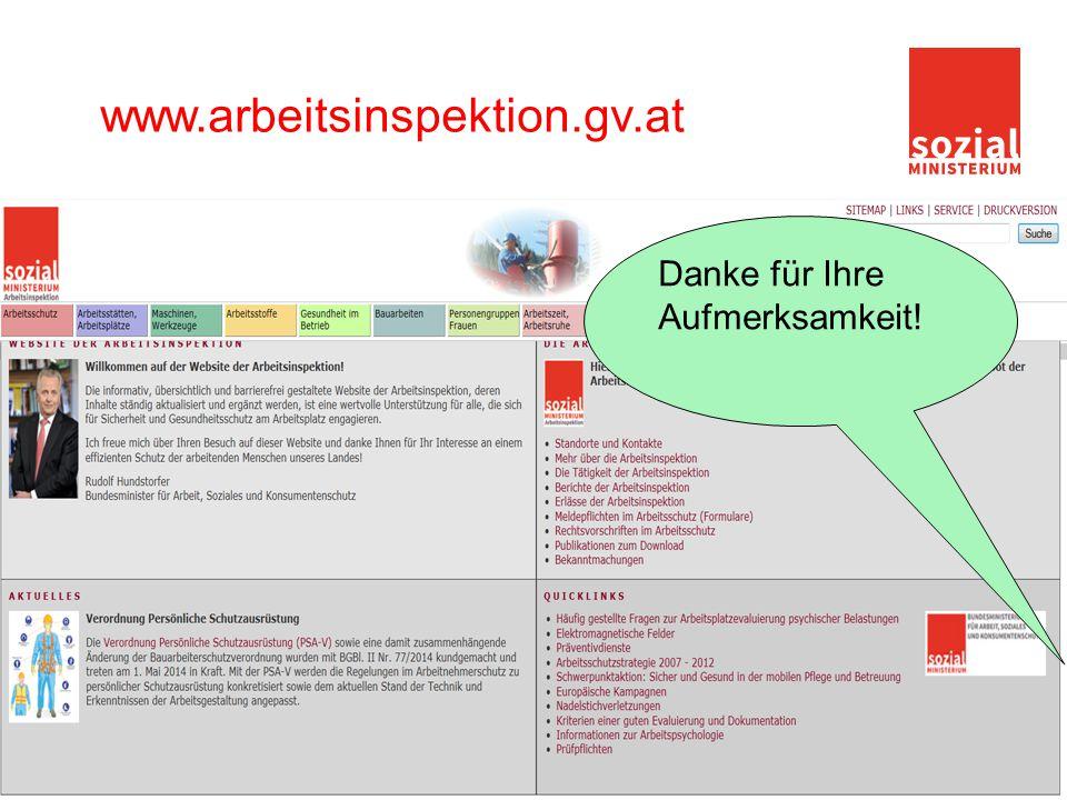 26 www.arbeitsinspektion.gv.at Danke für Ihre Aufmerksamkeit!