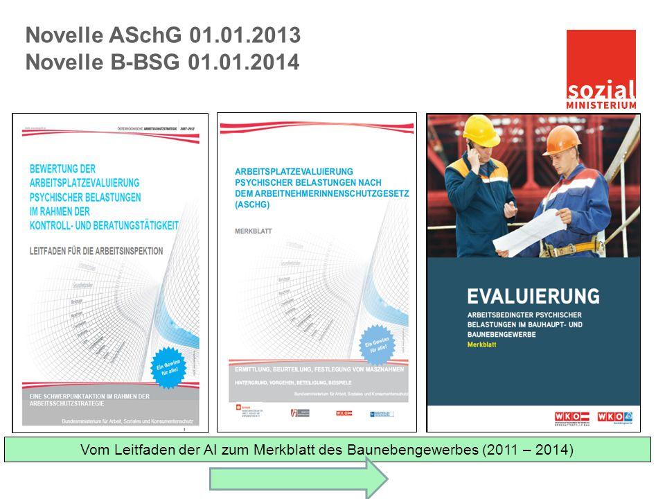 Vom Leitfaden der AI zum Merkblatt des Baunebengewerbes (2011 – 2014) Novelle ASchG 01.01.2013 Novelle B-BSG 01.01.2014