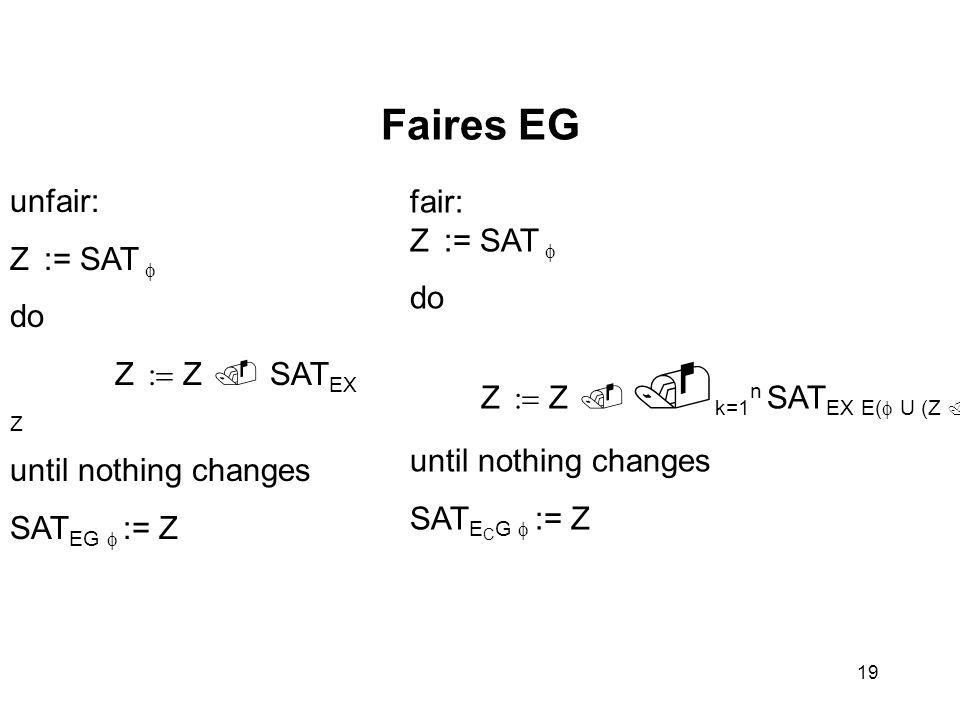 19 Faires EG fair: Z  := SAT  do Z   Z     k=1 n  SAT EX E(  U (Z  Ck)) until nothing changes SAT E C G  := Z unfair: Z  := SAT  do Z   Z    SAT EX Z until nothing changes SAT EG  := Z