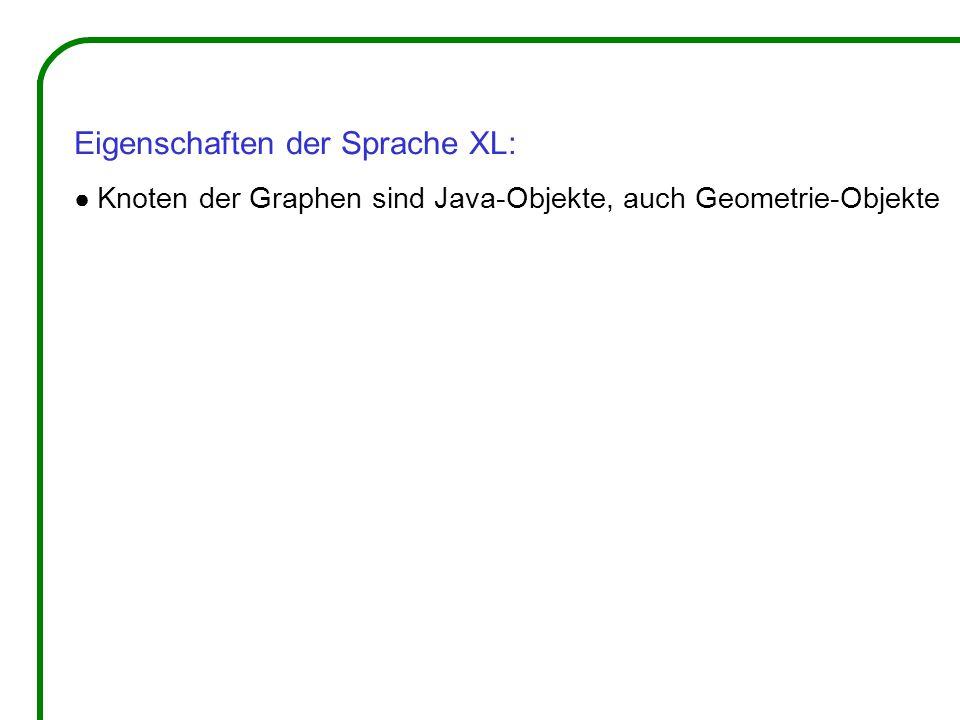 Eigenschaften der Sprache XL: ● Knoten der Graphen sind Java-Objekte, auch Geometrie-Objekte