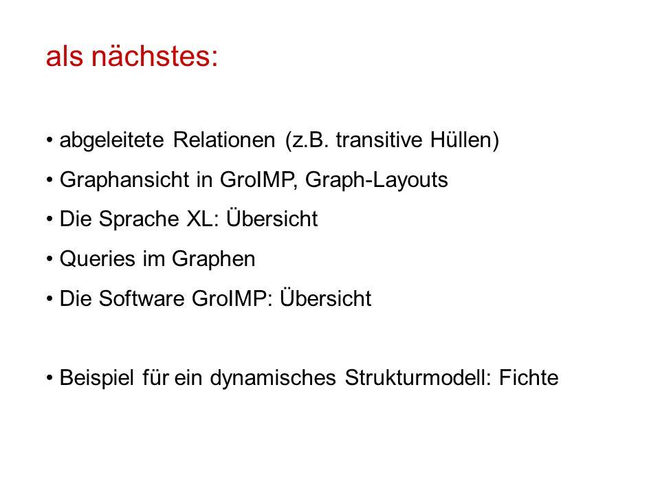 als nächstes: abgeleitete Relationen (z.B. transitive Hüllen) Graphansicht in GroIMP, Graph-Layouts Die Sprache XL: Übersicht Queries im Graphen Die S