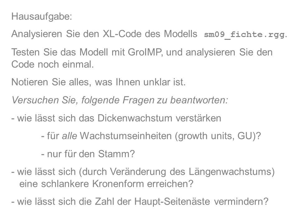 Hausaufgabe: Analysieren Sie den XL-Code des Modells sm09_fichte.rgg. Testen Sie das Modell mit GroIMP, und analysieren Sie den Code noch einmal. Noti