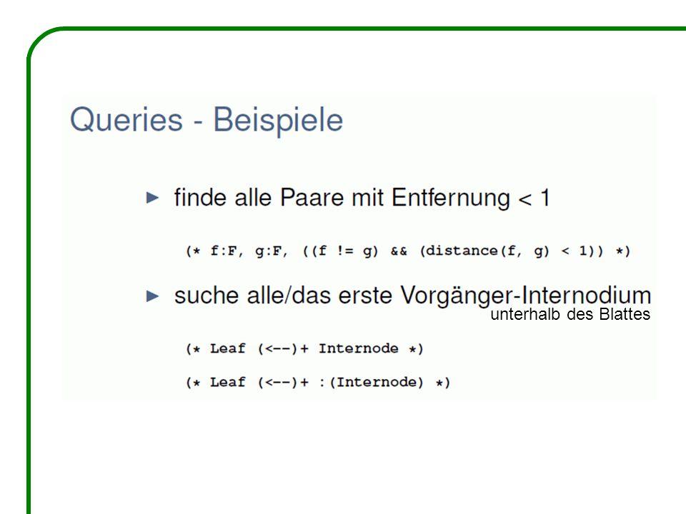 Query in einem Pflanzen- / Tier-Modell: p:Plant, (* a:Animal, (distance(a,p) < p[radius]) *) sucht alle Tiere innerhalb des Radius von p