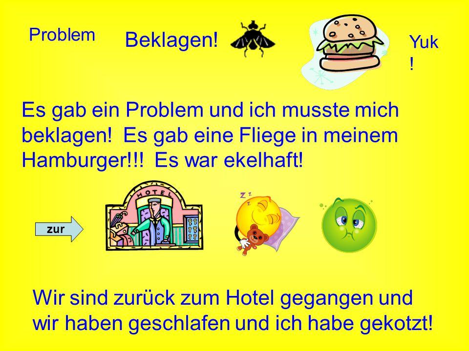 Problem Beklagen! Es gab ein Problem und ich musste mich beklagen! Es gab eine Fliege in meinem Hamburger!!! Es war ekelhaft! Yuk ! zur Wir sind zurüc