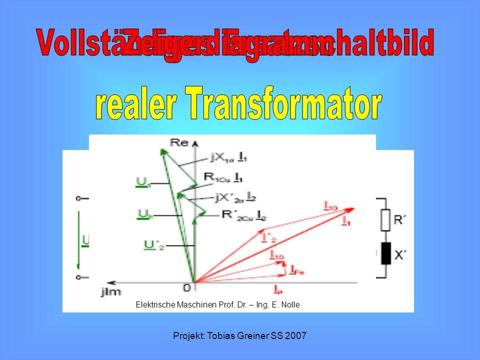 Projekt: Tobias Greiner SS 2007 Elektrische Maschinen Prof. Dr. – Ing. E. Nolle