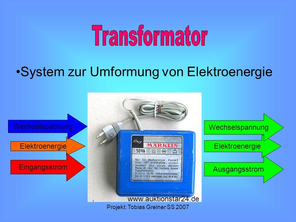 Projekt: Tobias Greiner SS 2007 System zur Umformung von Elektroenergie Elektroenergie Wechselspannung Eingangsstrom Ausgangsstrom www.auktionstar24.d