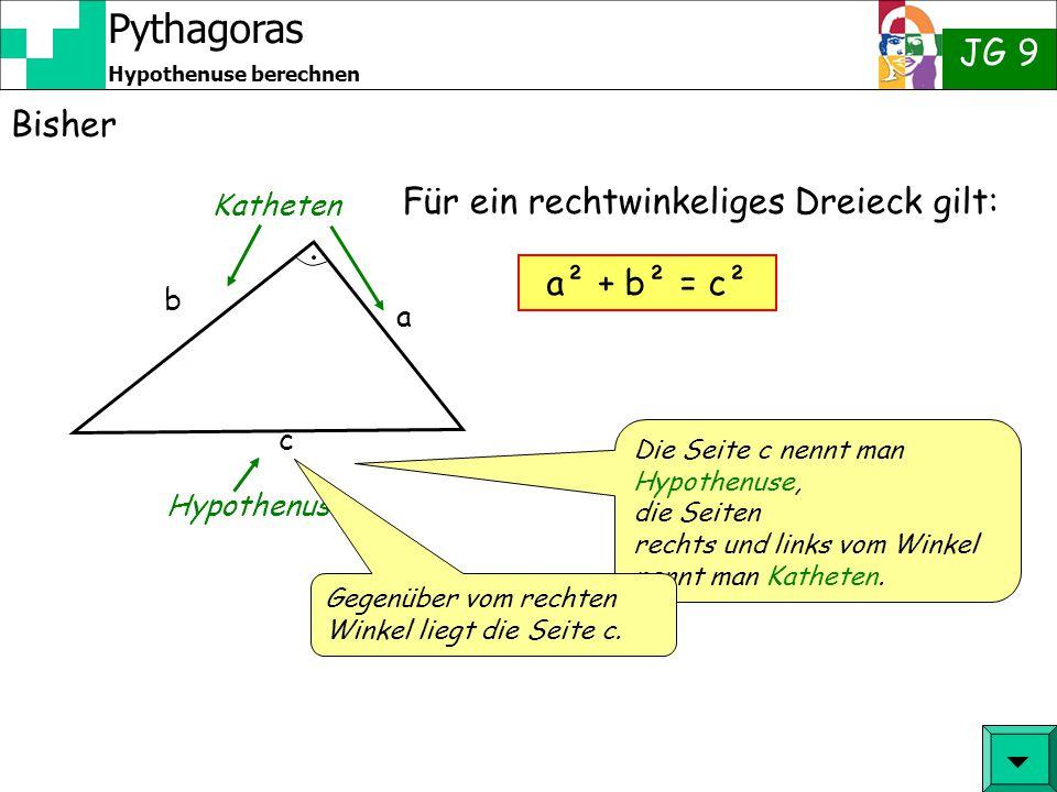Pythagoras JG 9 Hypothenuse berechnen Bisher  c a b Katheten Hypothenuse Für ein rechtwinkeliges Dreieck gilt: a² + b² = c² Die Seite c nennt man Hypothenuse, die Seiten rechts und links vom Winkel nennt man Katheten.