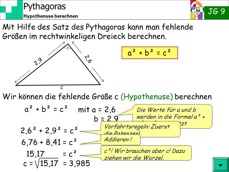 Pythagoras JG 9 Hypothenuse berechnen Mit Hilfe des Satz des Pythagoras kann man fehlende Größen im rechtwinkeligen Dreieck berechnen.  a² + b² = c