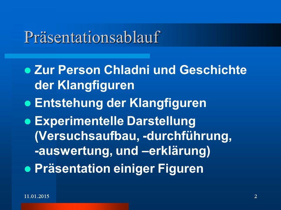 11.01.20151 Chladnische Klangfiguren Chladnische Klangfiguren Präsentation von Jan H. Hedder