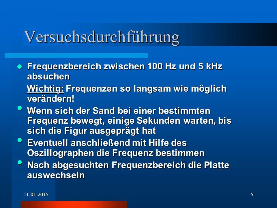 11.01.20155 Versuchsdurchführung Frequenzbereich zwischen 100 Hz und 5 kHz absuchen Frequenzbereich zwischen 100 Hz und 5 kHz absuchen Wichtig: Frequenzen so langsam wie möglich verändern.