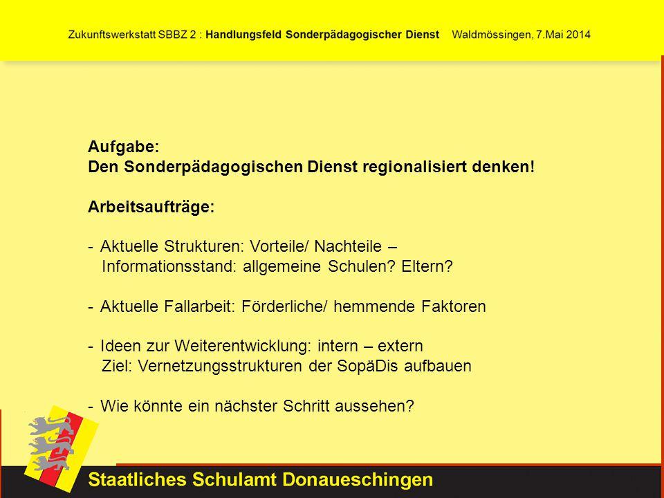 Aufgabe: Den Sonderpädagogischen Dienst regionalisiert denken! Arbeitsaufträge: -Aktuelle Strukturen: Vorteile/ Nachteile – Informationsstand: allgeme