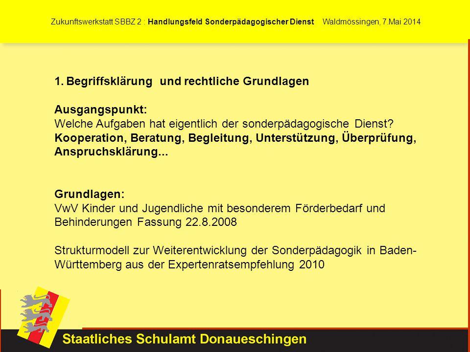 Zukunftswerkstatt SBBZ 2 : Handlungsfeld Sonderpädagogischer Dienst Waldmössingen, 7.Mai 2014 1.Begriffsklärung und rechtliche Grundlagen Ausgangspunk