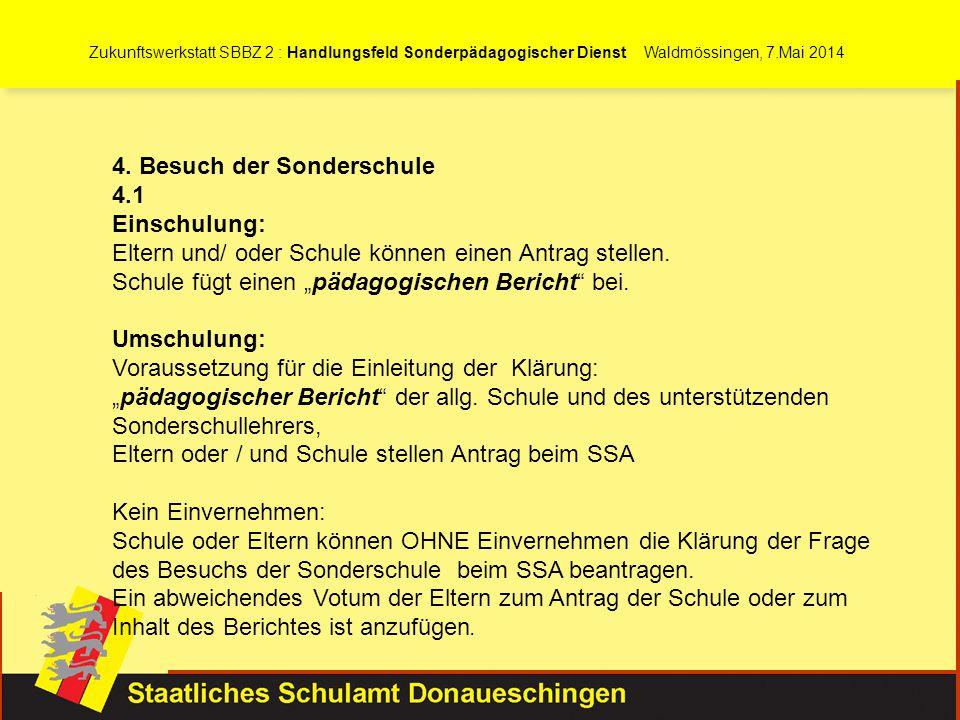 Zukunftswerkstatt SBBZ 2 : Handlungsfeld Sonderpädagogischer Dienst Waldmössingen, 7.Mai 2014 4. Besuch der Sonderschule 4.1 Einschulung: Eltern und/