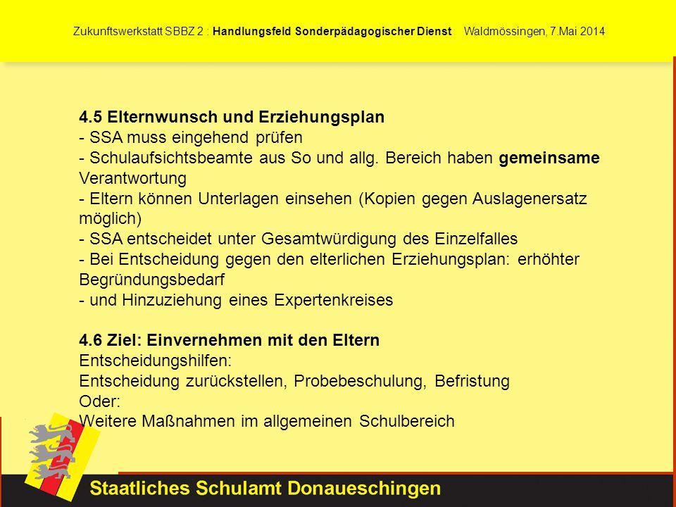 Zukunftswerkstatt SBBZ 2 : Handlungsfeld Sonderpädagogischer Dienst Waldmössingen, 7.Mai 2014 4.5 Elternwunsch und Erziehungsplan - SSA muss eingehend